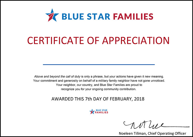 Blue star certificate